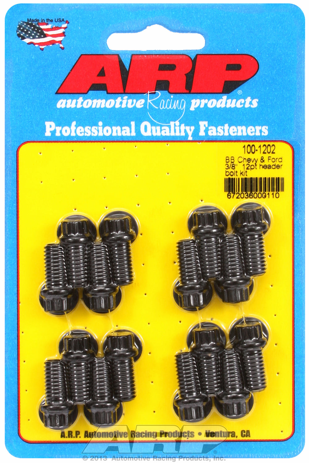 Header Bolt Kit for Chevy Big Block 3/8in x .750in Black Oxide 12-PT Head