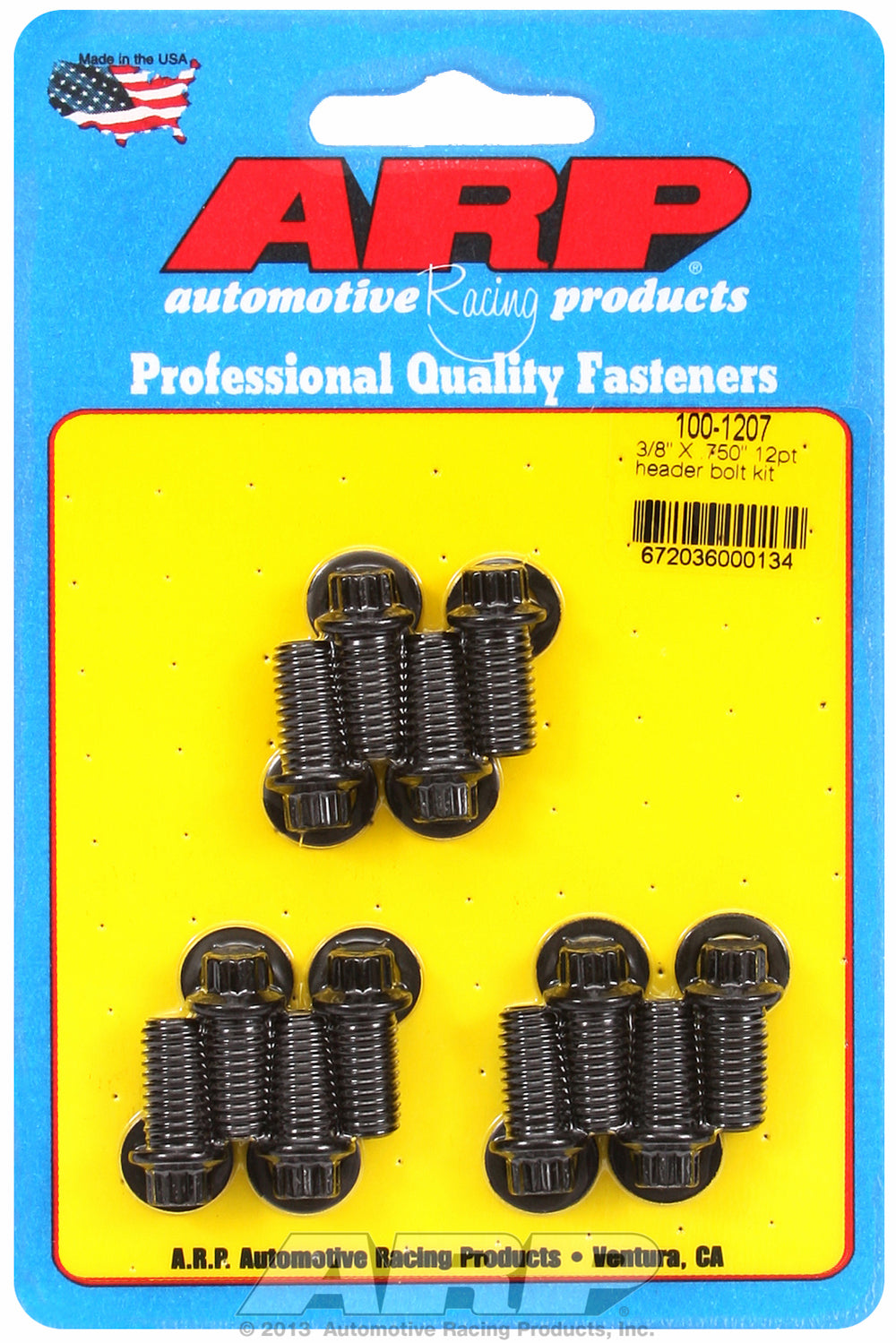 Universal Header Bolt Kit 5/16in wrench, 3/8in, .750in UHL Black Oxide 12-Pt Head