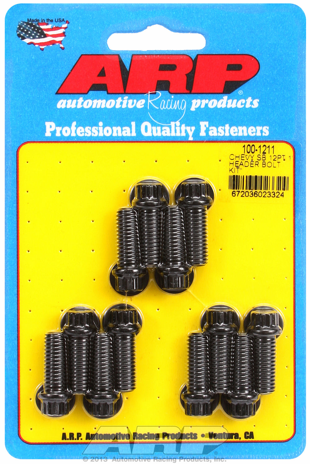 Header Bolt Kit for Chevy Small Block 3/8in Dia. 1.000in UHL Black Oxide 12-Pt Head