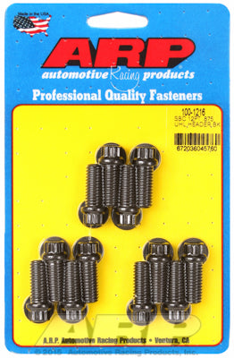 Header Bolt Kit for Chevy Small Block 3/8in Dia, 0.875in UHL Black Oxide 12-Pt Head