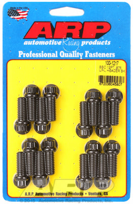 Header Bolt Kit for Chevy Big Block 3/8in Dia, 0.875in UHL, Black Oxide 12-Pt Head
