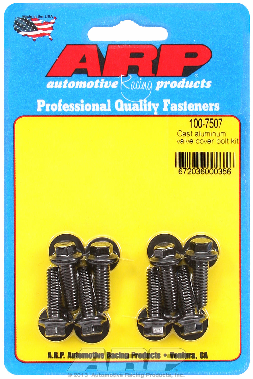 Valve Cover Bolt Kit for Cast Aluminum Covers 1/4-20 Thread, 0.812in UHL, Hex Head QTY: 8