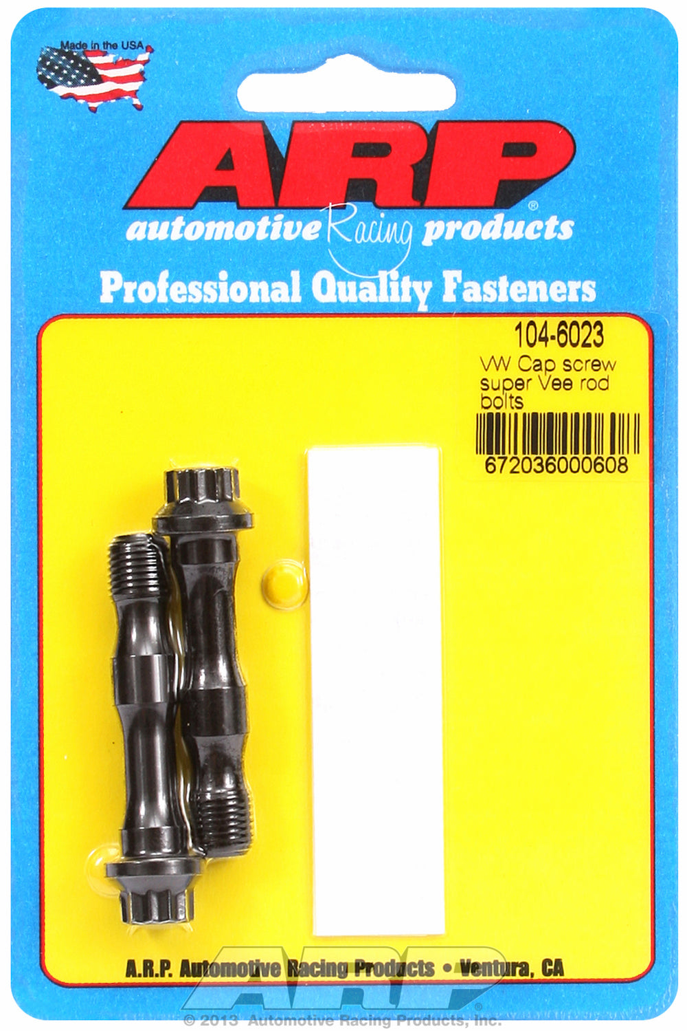 Pro Series ARP2000 2-pc Rod Bolt Kit for Volkswagen/Audi Super Vee (cap screw type) Audi-style rod