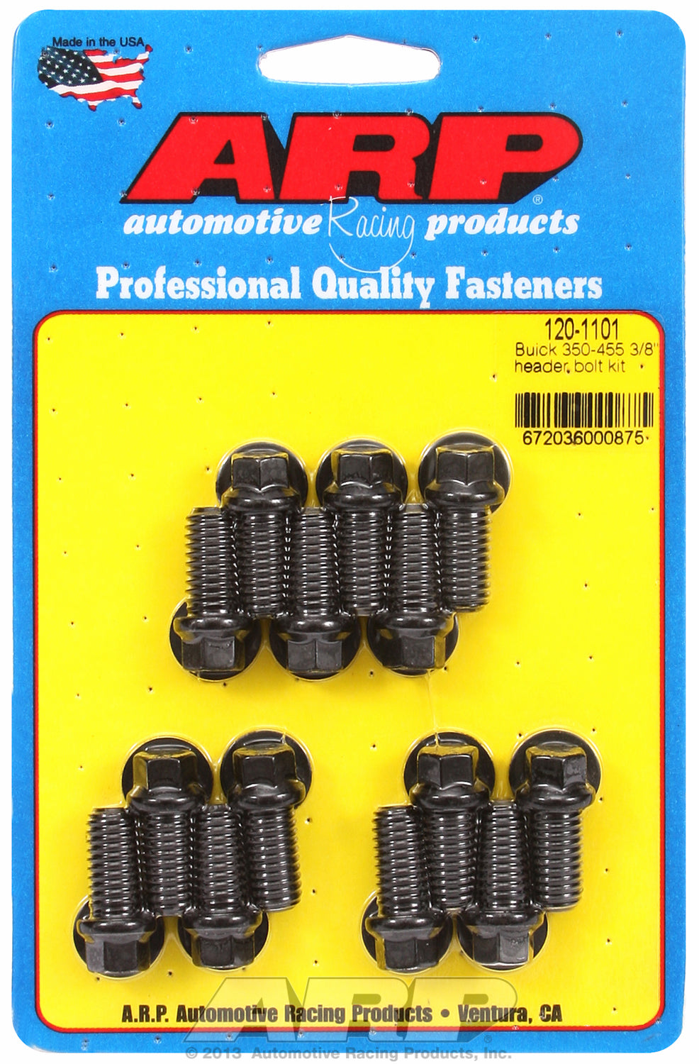 Header Bolt Kit For Buick 350-455 cid Black Oxide Hex Head