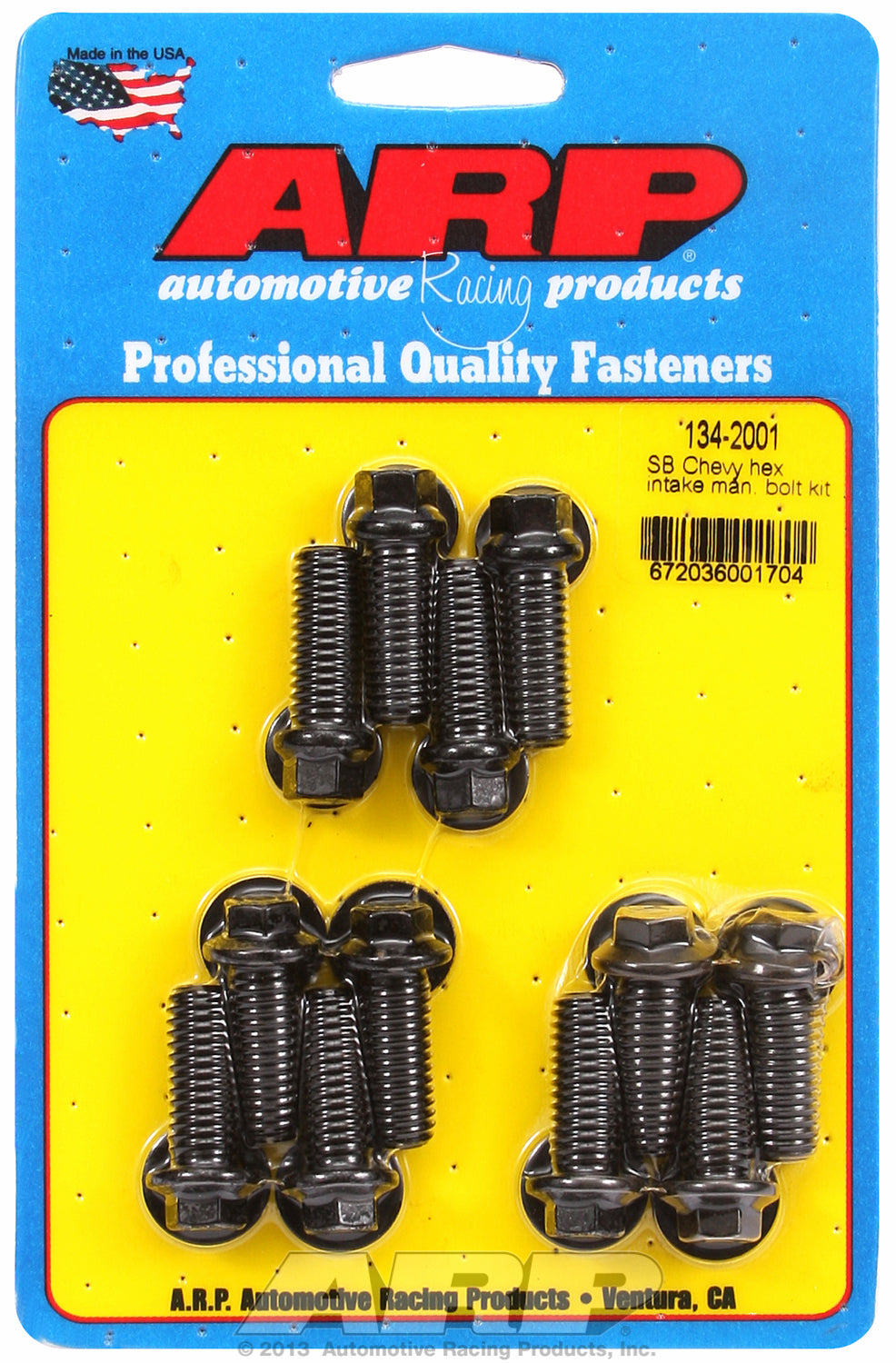 Hex Head Black Oxide Intake Manifold Bolts for Chevrolet 265-400 cid, factory OEM, 1.000˝, 12 pieces