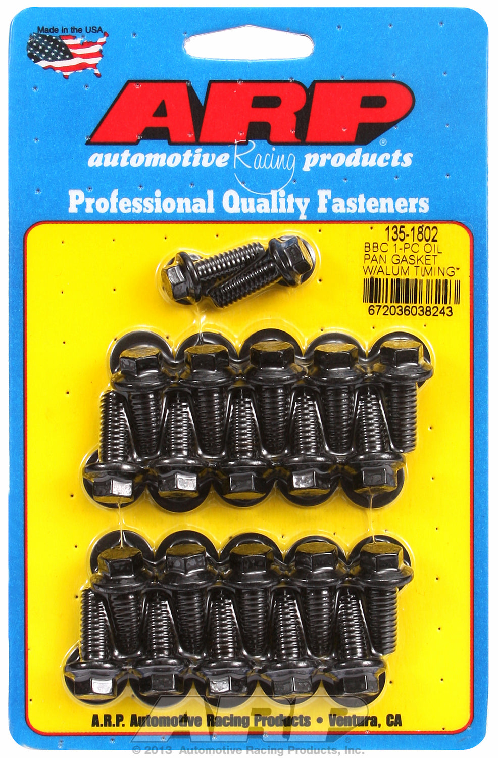 Hex Head Black Oxide Oil Pan Bolt Kit for Chevrolet 396-454 cid (w/ 1-pc. rubber gasket)