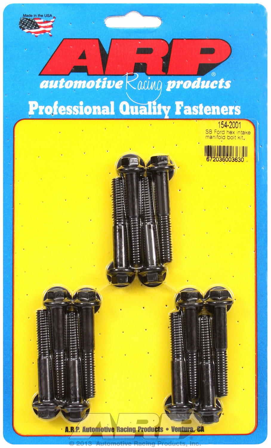 Hex Head Black Oxide Intake Manifold Bolts for Ford 260-289-302, 351W, uses 3/8˝ socket