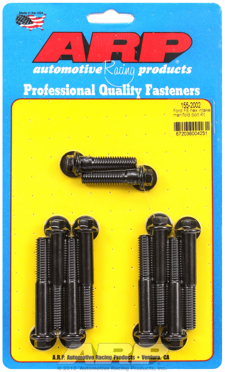 Hex Head Black Oxide Intake Manifold Bolts for Ford 390-428 cid FE Series