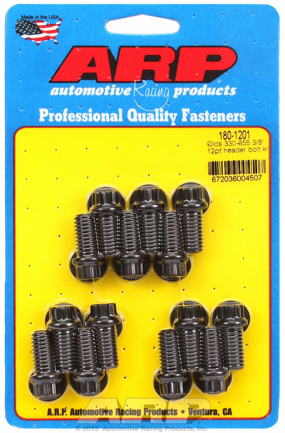 Header Bolt Kit For Oldsmobile 330-455 cid Black Oxide 12-Pt Head