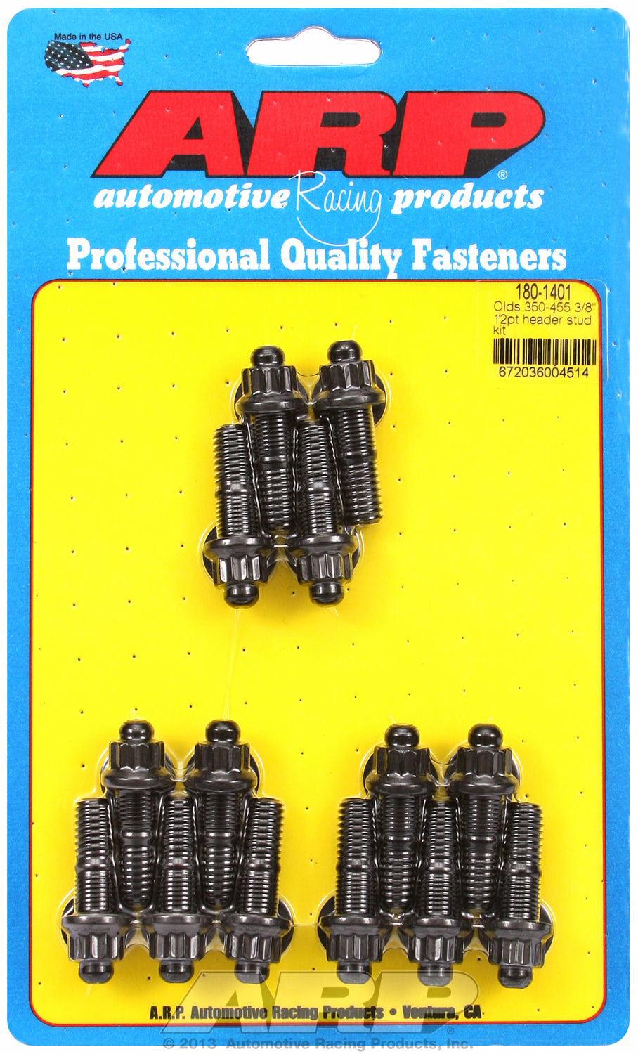 Header Stud Kit for Oldsmobile 330-455 cid Black Oxide 12-Pt Head