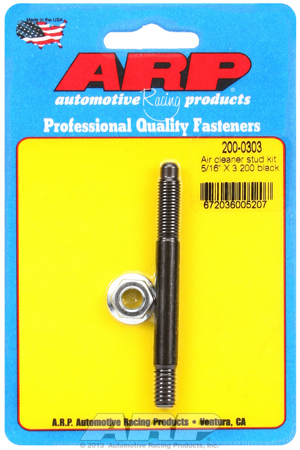 Black Oxide 5/16in x 3.200 air cleaner stud kit