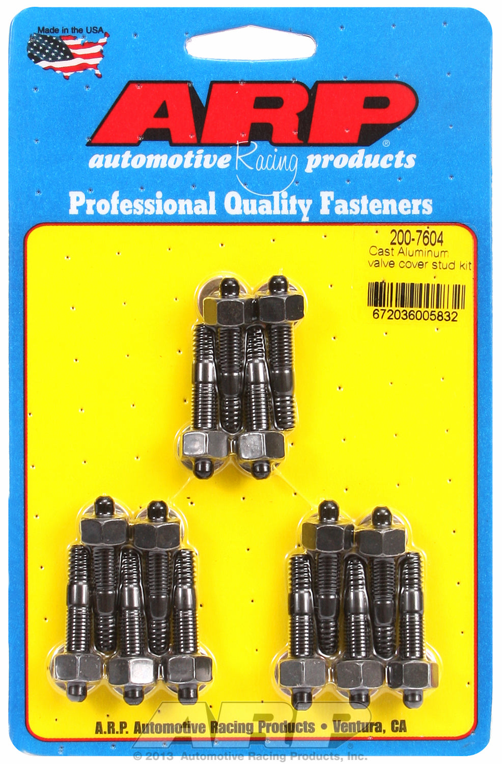 Valve Cover Stud Kit for Cast Aluminum Covers Stud kit Black Oxide - Hex Head