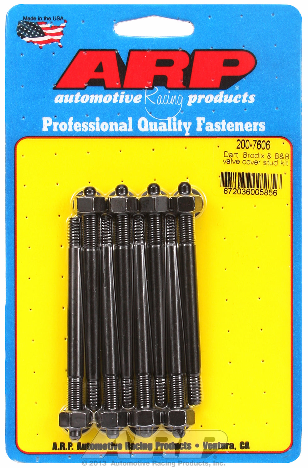Valve Cover Stud Kit for Cast Aluminum Covers Stud kit, Dart, Brodix, B&B Black Oxide - Hex Head