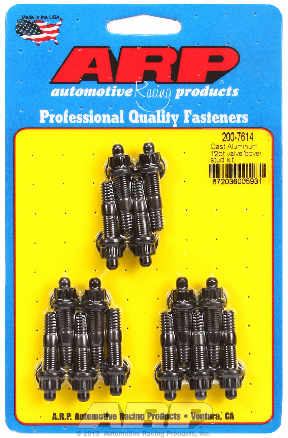 Valve Cover Stud Kit for Cast Aluminum Covers Stud kit Black Oxide - 12-Pt Head
