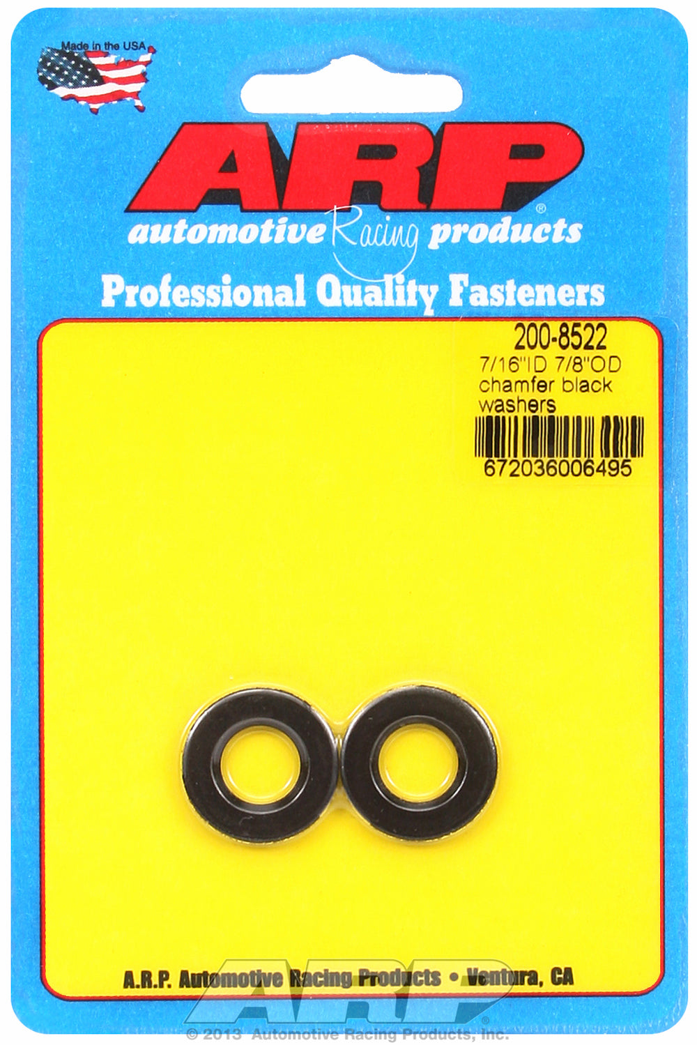 Black Oxide 2-PC Pack SAE Special Purpose Washers w/ Chamfer