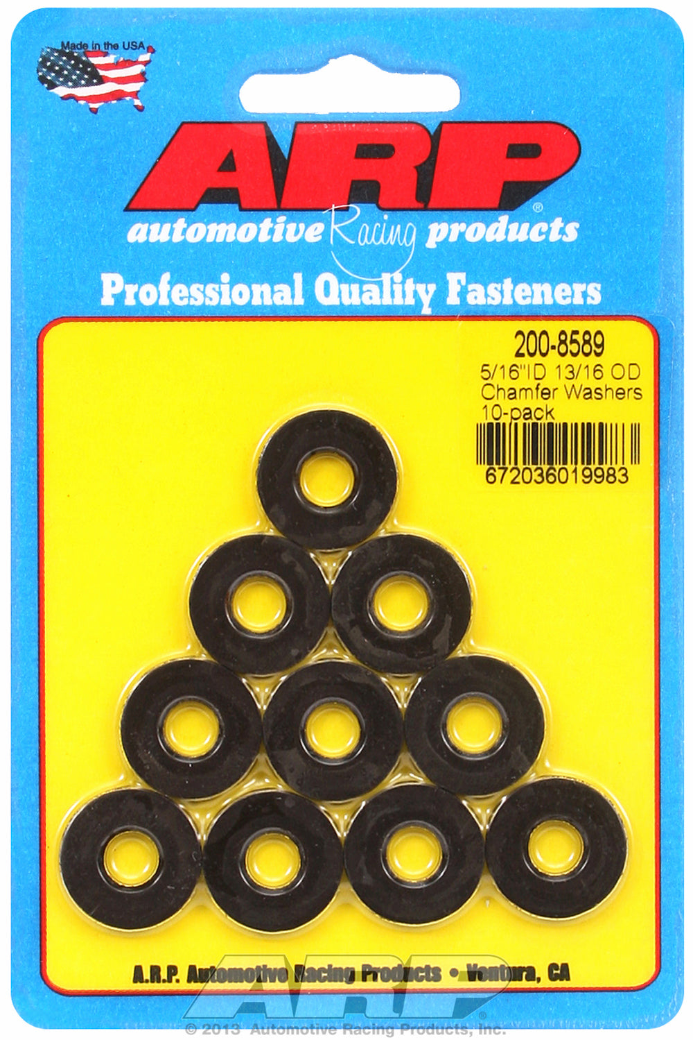 Black Oxide 10-PC Pack SAE Special Purpose Washers w/ Chamfer