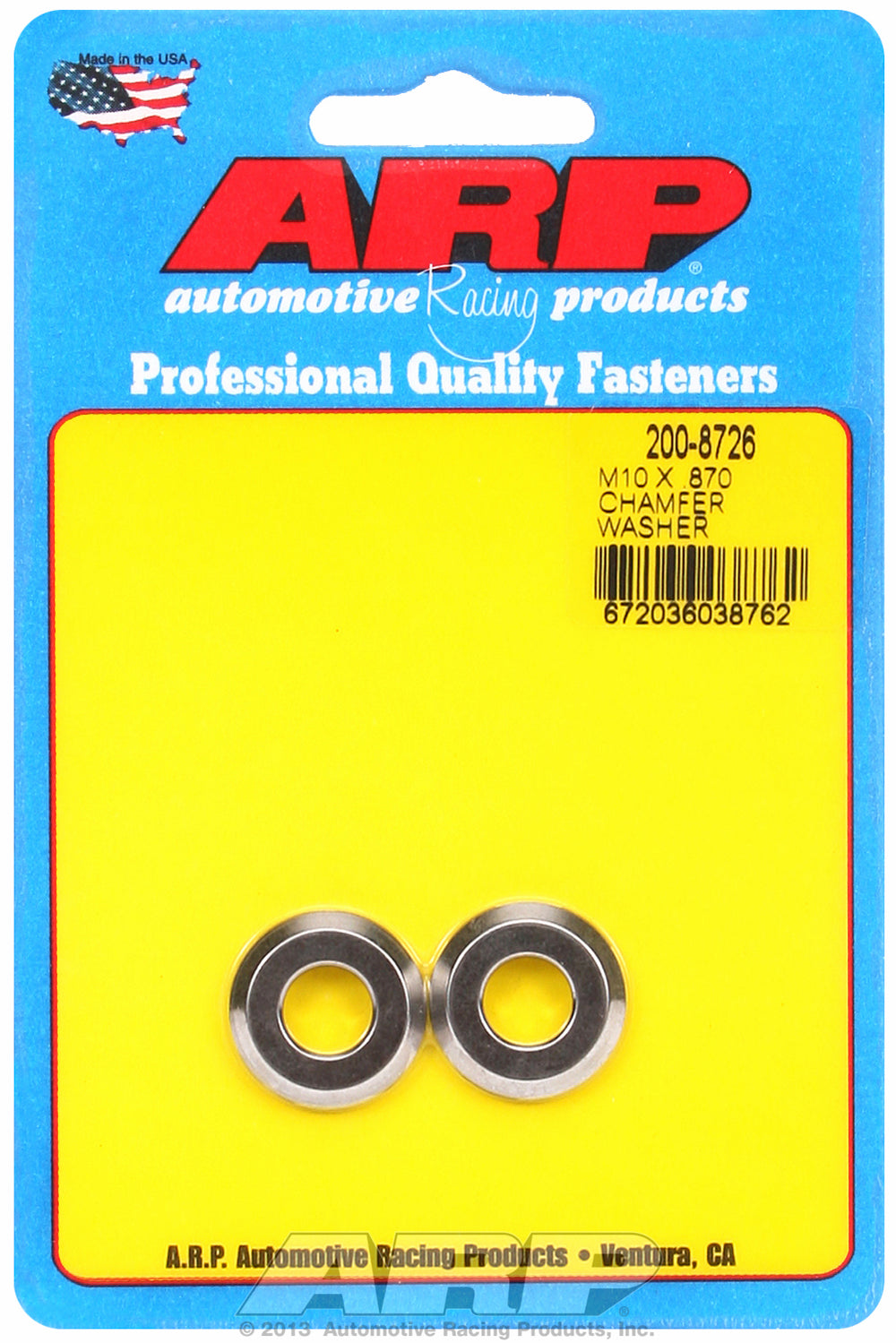 Black Oxide 2-PC Pack Metric Special Purpose Washers w/ Chamfer