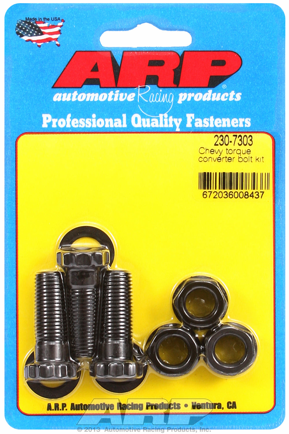 Pro Series Torque Converter Bolts for GM Powerglide, TH350 & TH400 w/ race converter - 1/2˝ thick ta