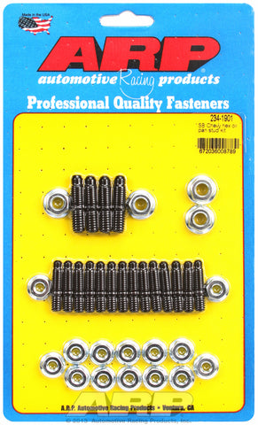 Hex Head Black Oxide Oil Pan Stud Kit for Chevrolet 265-400 cid (w/ standard 2-pc. cork gasket)