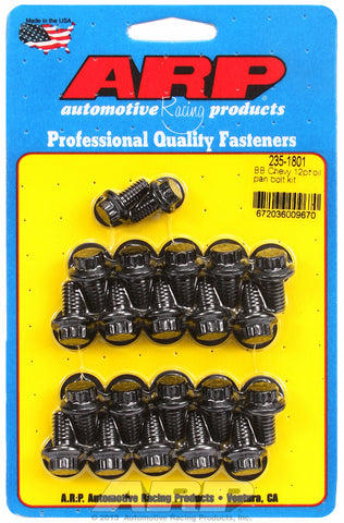 12-Pt Head Black Oxide Oil Pan Bolt Kit for Chevrolet 396-454 cid (w/ standard 2-pc. cork gasket)
