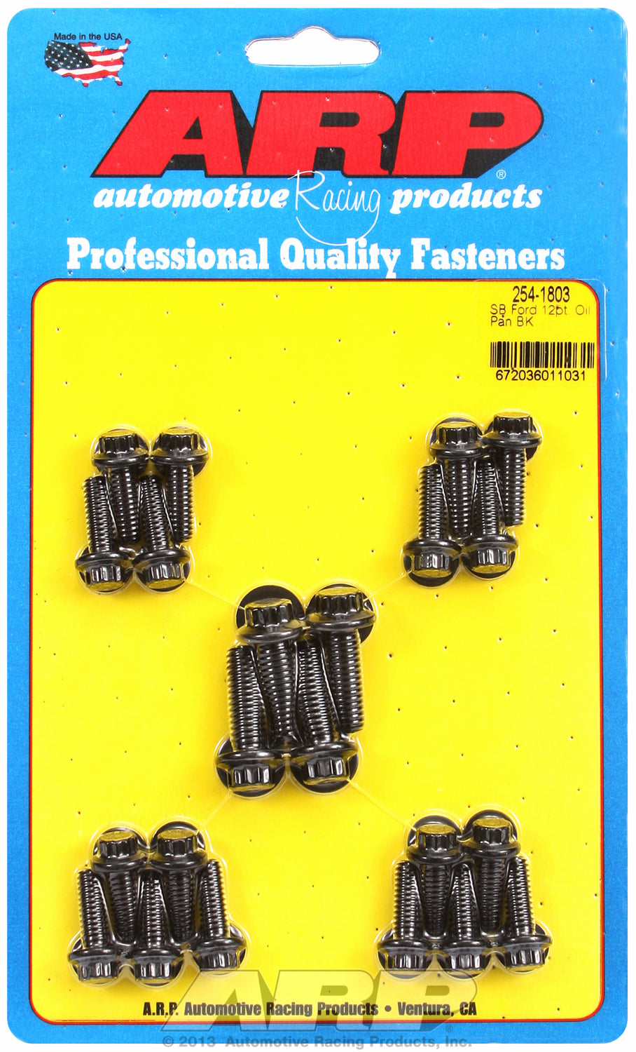 12-Pt Head Black Oxide Oil Pan Bolt Kit for Ford 302-351W (late model with side rails)