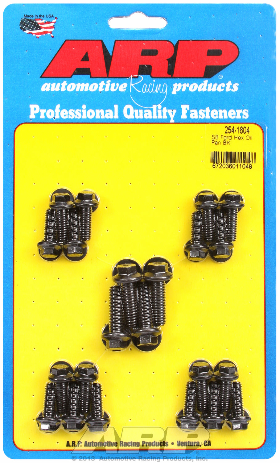 Hex Head Black Oxide Oil Pan Bolt Kit for Ford 302-351W (late model with side rails)