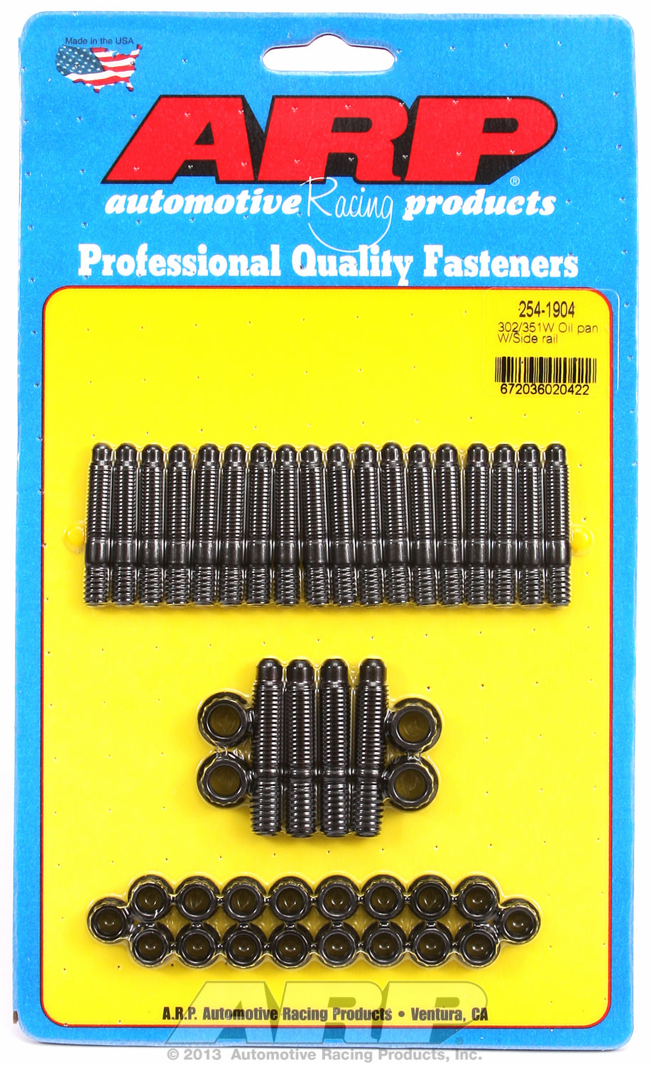 12-Pt Head Black Oxide Oil Pan Stud Kit for Ford 302-351W (late model with side rails)