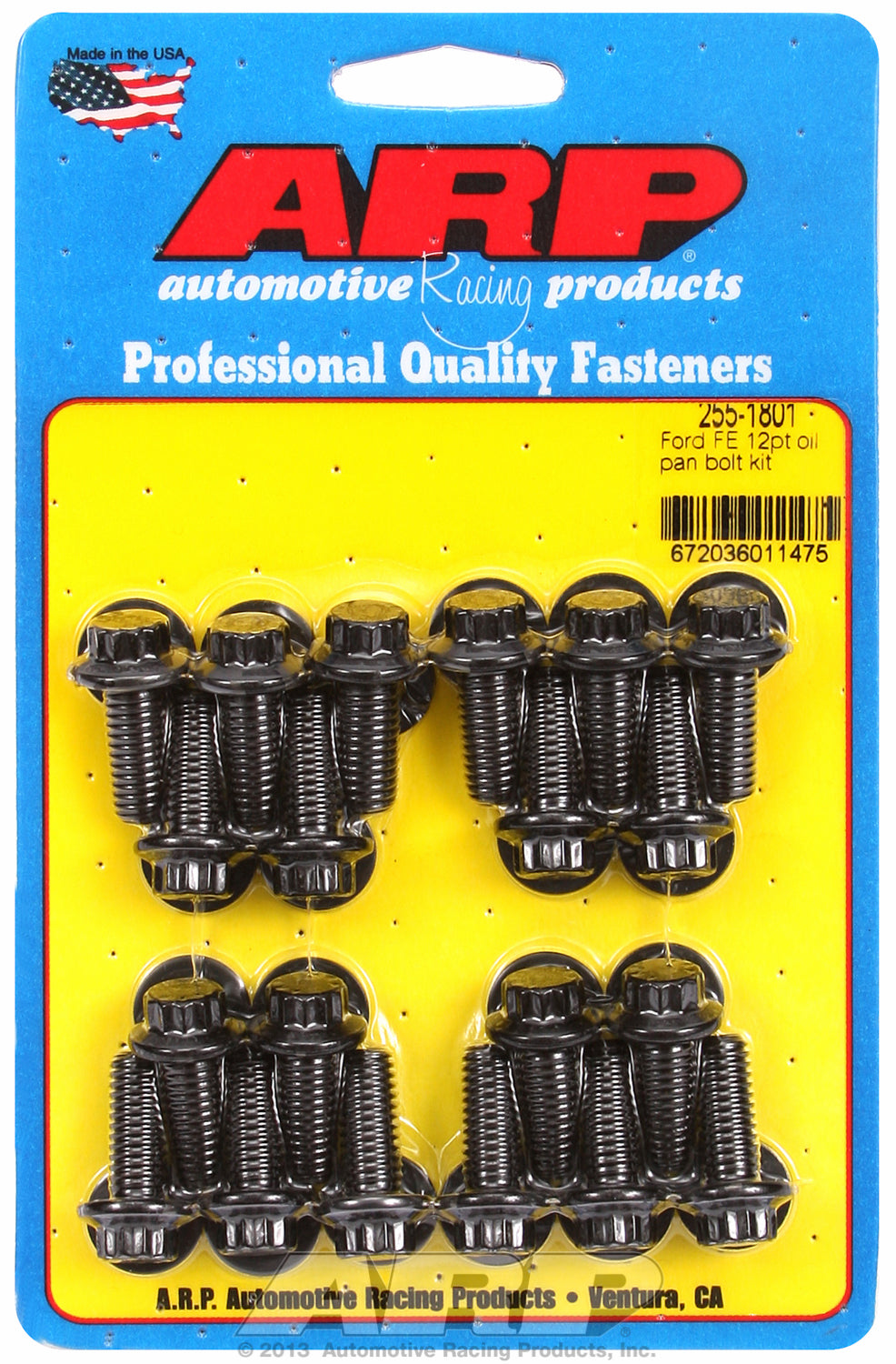 12-Pt Head Black Oxide Oil Pan Bolt Kit for Ford 390-428 cid FE Series