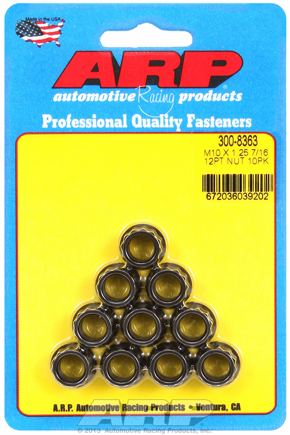 M10  8740 Black Oxide 12-pt Nut Kit