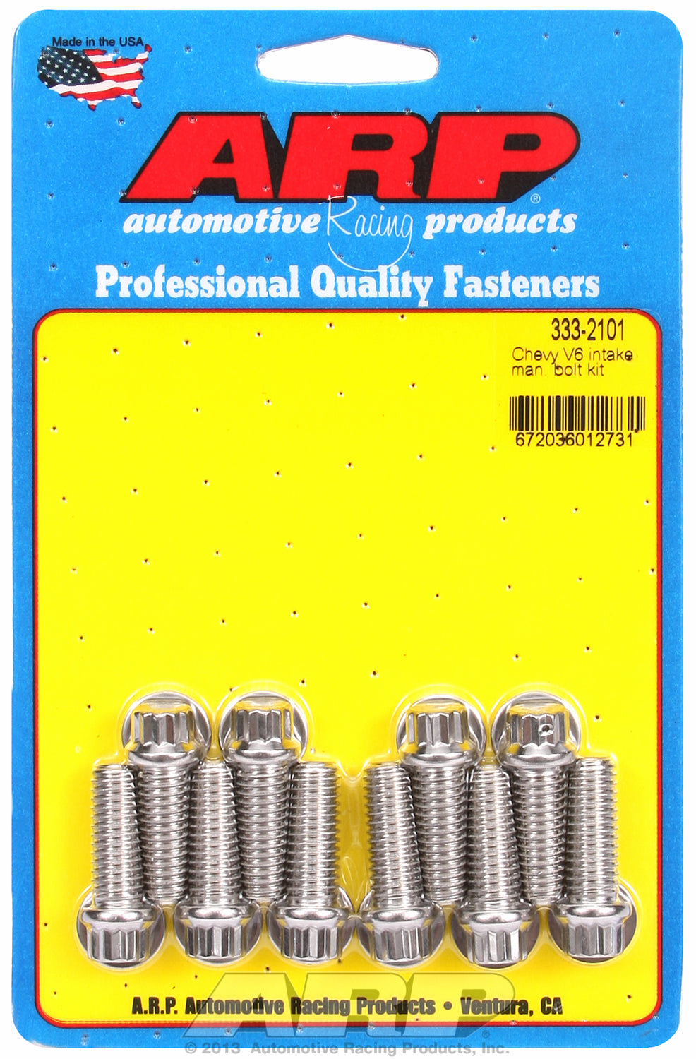Hex Head Stainless Intake Manifold Bolts for Chevrolet V6 Chevy 90°, 1.000˝, drilled