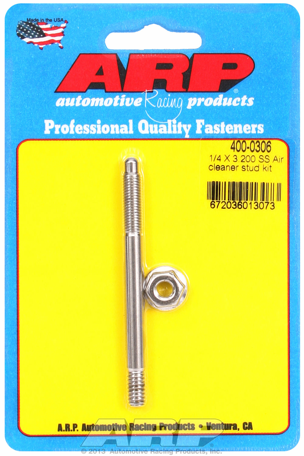 1/4 x 3.200 SS air cleaner stud kit