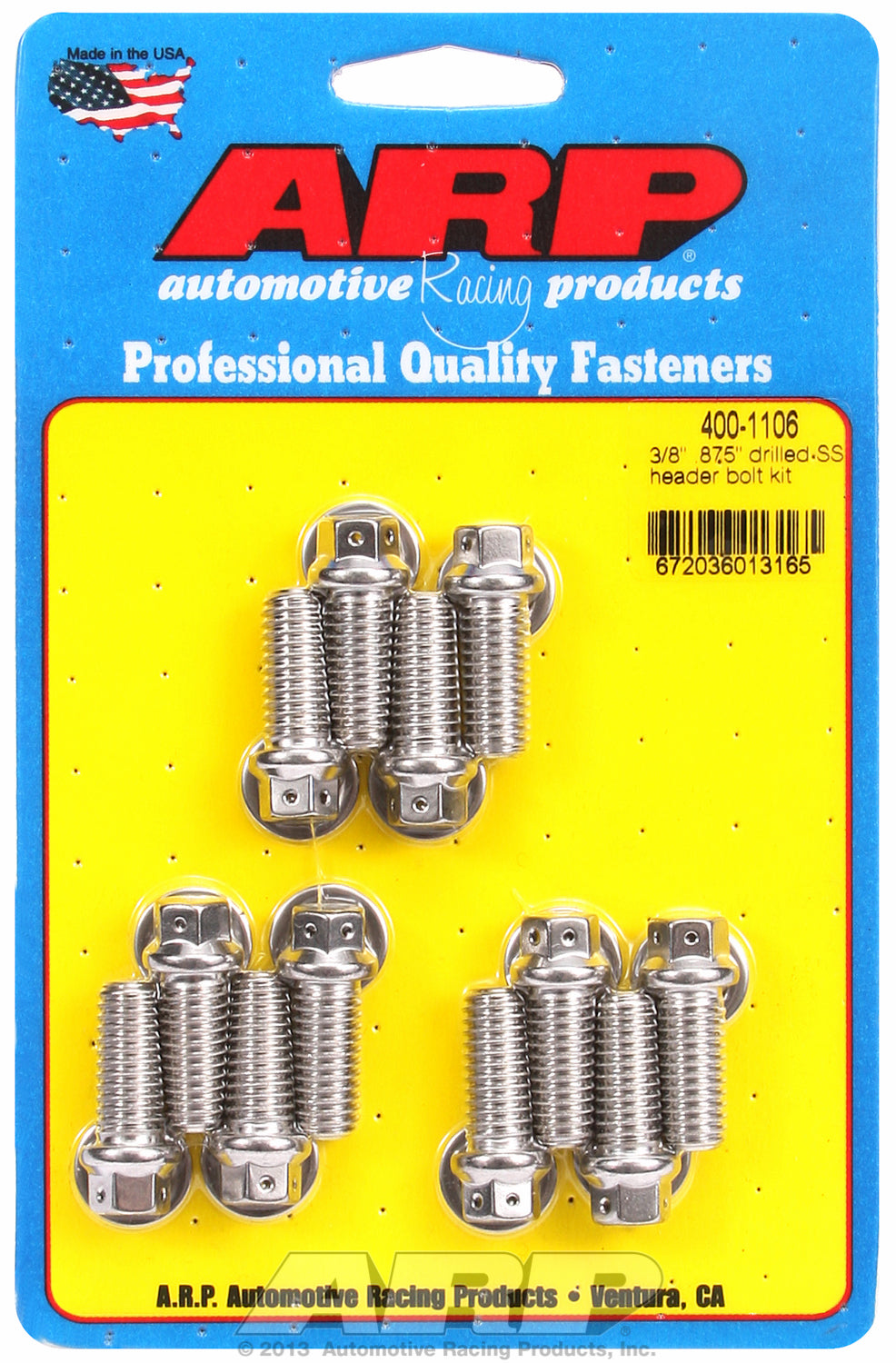 Header Bolt Kit For Universal Bolt kit, drilled, uses 3/8˝ socket Stainless Hex Head
