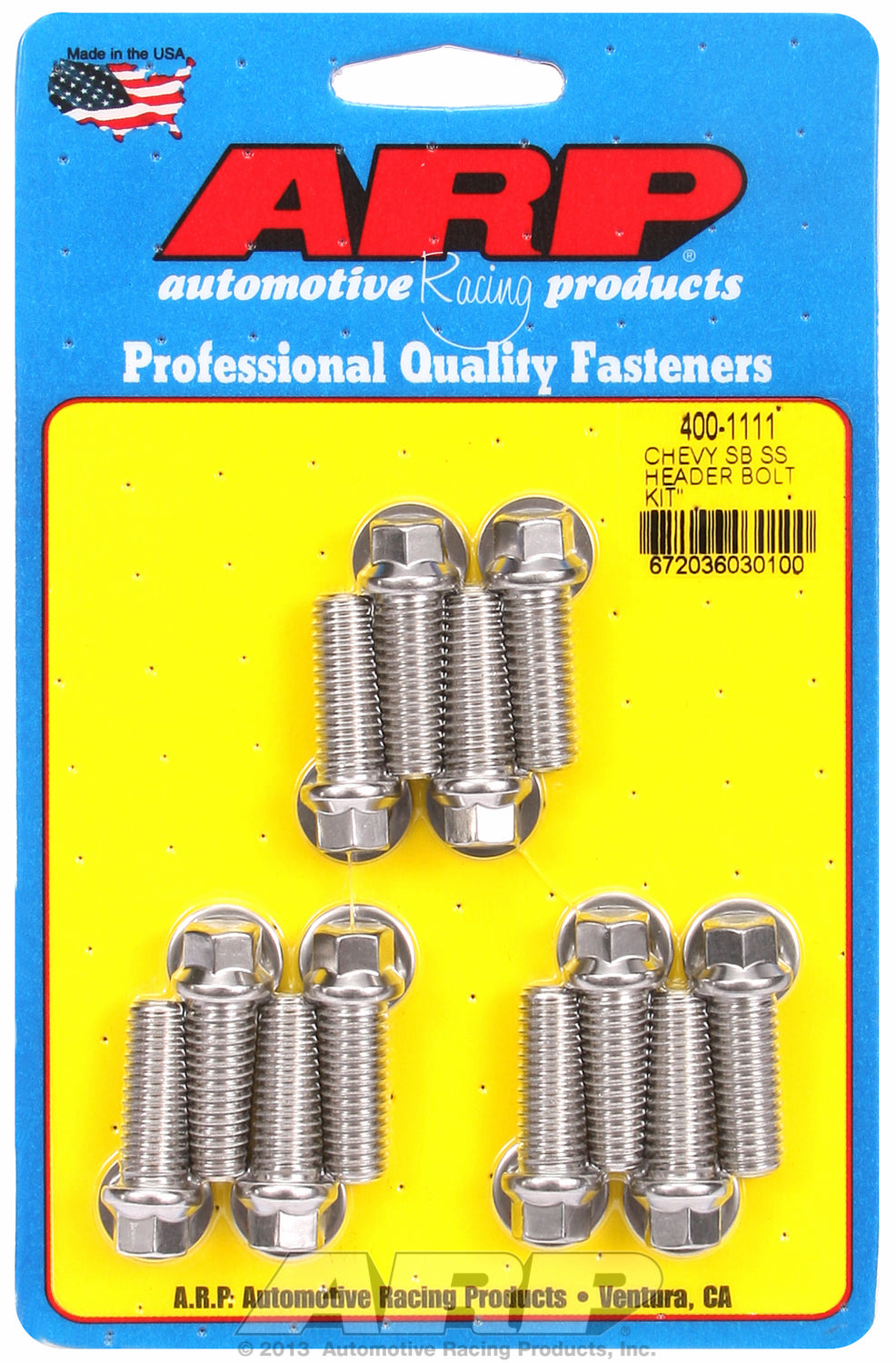 Header Bolt Kit For Chevrolet 3/8˝ dia. bolt, 3/8˝ wrench Stainless Hex Head
