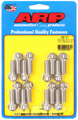 Header Bolt Kit For Chevrolet 3/8˝ dia. bolt, 3/8˝ wrench Stainless 12-Pt Head