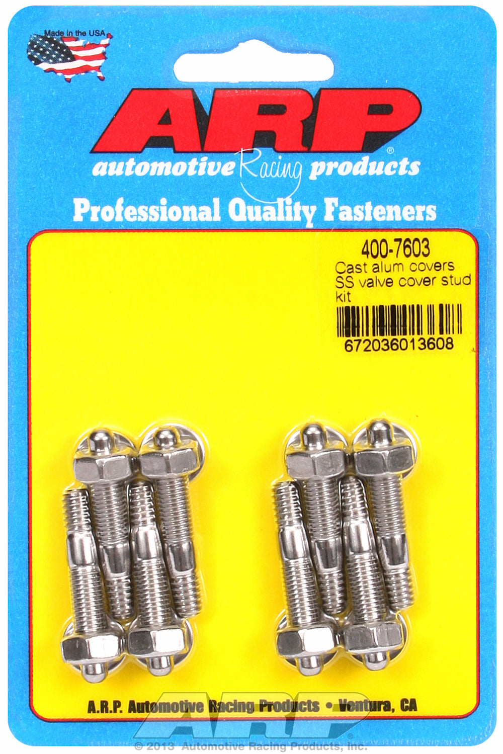 Valve Cover Stud Kit for Cast Aluminum Covers Stud kit Stainless - Hex Head