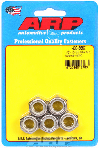 1/2-13 Stainless Nyloc Course Thread Hex Nut