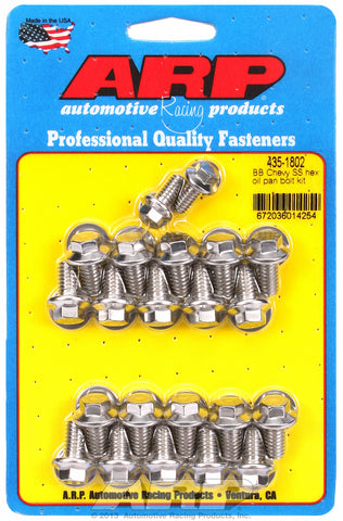 Hex Head Stainless Oil Pan Bolt Kit for Chevrolet 396-454 cid (w/ standard 2-pc. cork gasket)