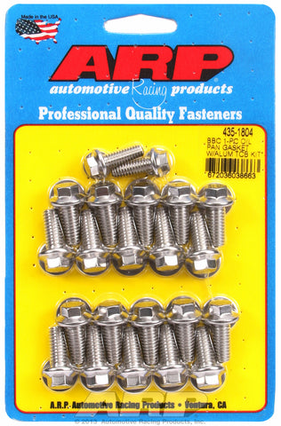 Hex Head Stainless Oil Pan Bolt Kit for Chevrolet 396-454 cid (w/ 1-pc. rubber gasket)