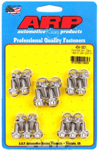 12-Pt Head Stainless Oil Pan Bolt Kit for Ford 289-302-351C & 351W (early model)