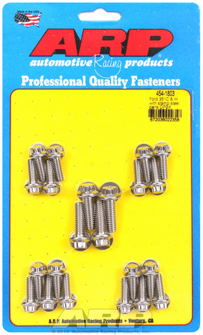 12-Pt Head Stainless Oil Pan Bolt Kit for Ford 302-351W (late model with side rails)