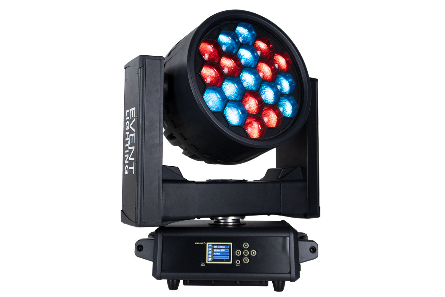 Event Lighting M19IPW40RGBW outdoor wash moving head, hero, red and blue