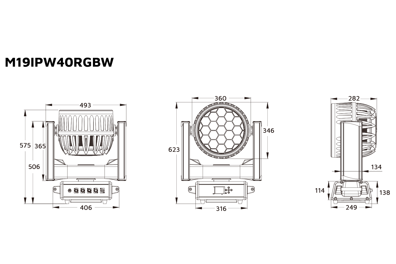Event Lighting M19IPW40RGBW outdoor wash moving head line drawing