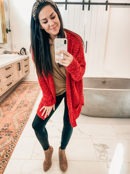 Let's Warm Up Cardigan - Crimson Red