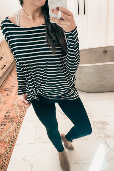 Piko Stripe Top - Black