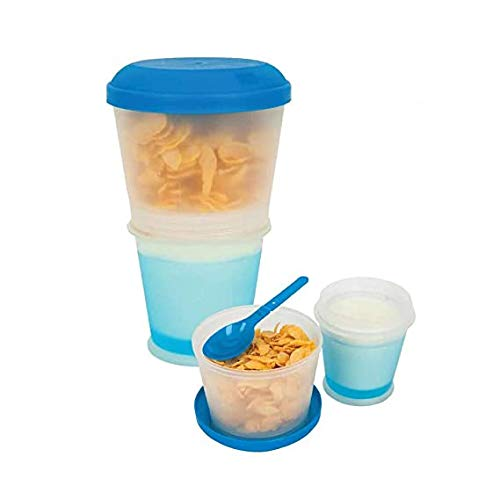 Muesli to Go Cup Container for Breakfast Cereals with Thermal Cooling Pot for Milk or Any Liquid Yogurt | Folding Spoon Included. (Color Assorted)