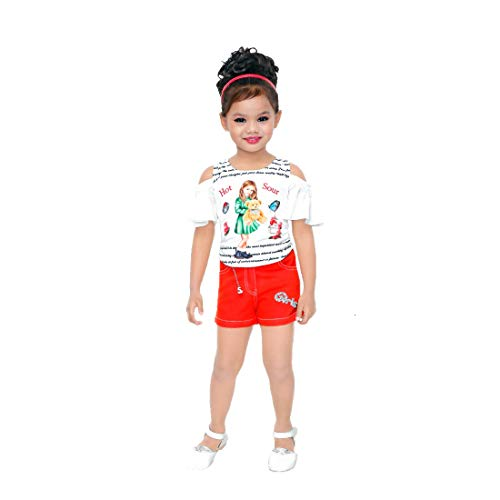 Kids Mandi Floral Kid Girls Dresses, Round Neck Sleeveless Shorts top for Summer Wear, Casual Wear