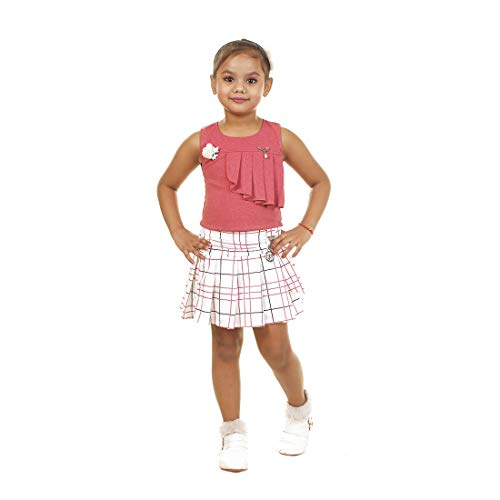 Kids Mandi Round Neck Solid Sleeveless Top with Striped Flare Skirt for Girls