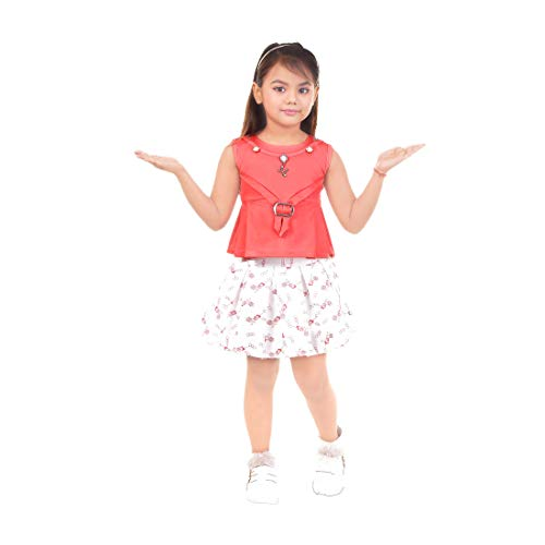 Kids Mandi Two Piece Girls Outfits Set, Solid Sleeveless Top with Printed Flare Skirt for Summer Wear, Casual Wear