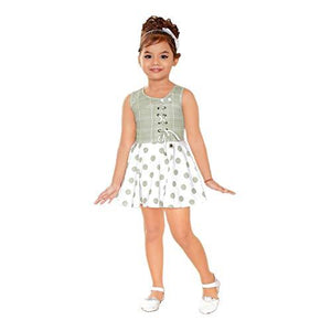 Kids Mandi One Part Floral Design Kid Girls Dresses, Round Neck Sleeveless Frock for Summer Wear, Casual Wear