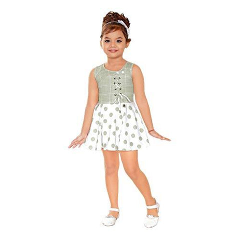 Kids Mandi Floral Design Round Neck Sleeveless Frock for Girls
